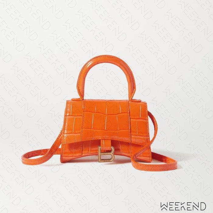 【WEEKEND】 BALENCIAGA Hourglass Mini 巴黎世家 迷你 鱷魚紋 肩背包 小廢包 橘色