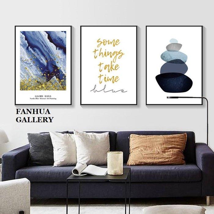 C - R - A - Z - Y - T - O - W - N 藍色流金簡約抽象掛畫組合版畫臥室餐廳金色英文裝飾畫