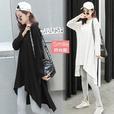 【V3000】SMILE-簡單宣言.純色圓領寬鬆不規則開叉長袖上衣
