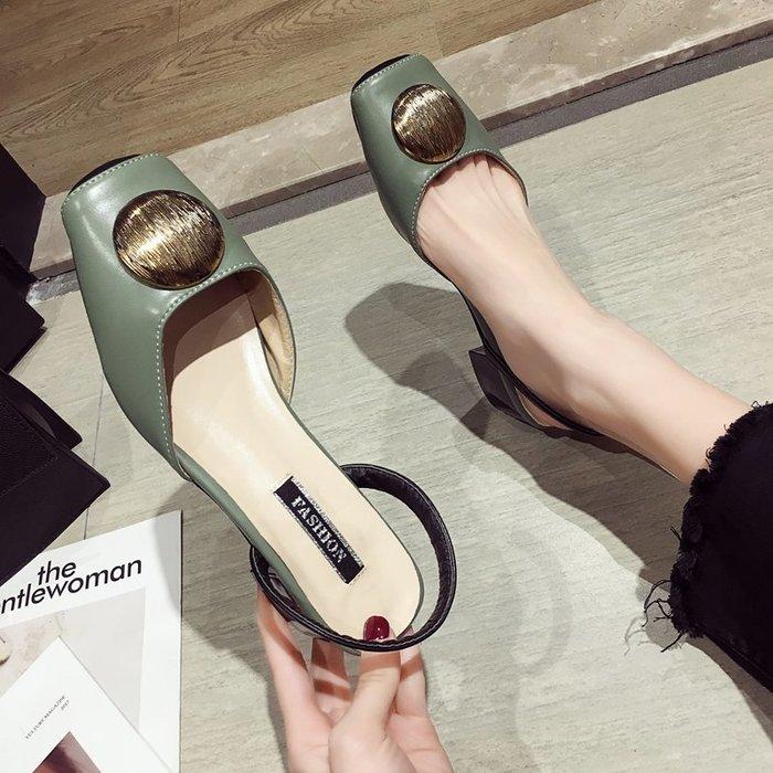 小尤家~涼鞋女仙女風新款夏季韓版時尚百搭高跟鞋網紅包頭粗跟單鞋潮