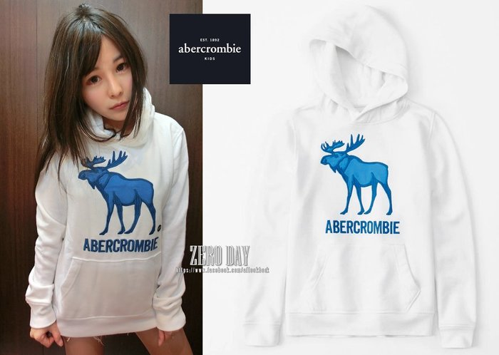 零時差美國時尚a&f真品abercrombie&fitch embroidered logo hoodie麋鹿連帽T白色