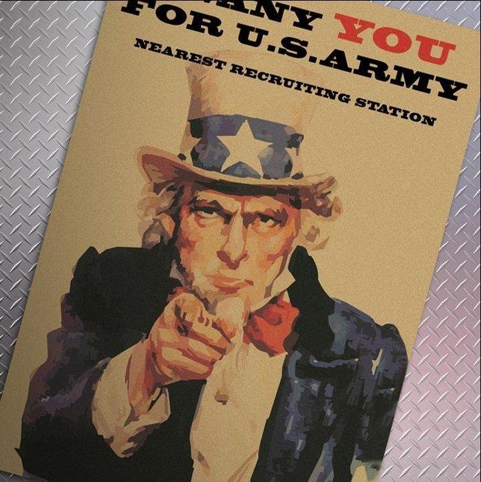 【貼貼屋】 二戰徵兵海報 I WANT YOU 懷舊 復古 牛皮紙 海報 店面裝飾 經典 電影海報 388