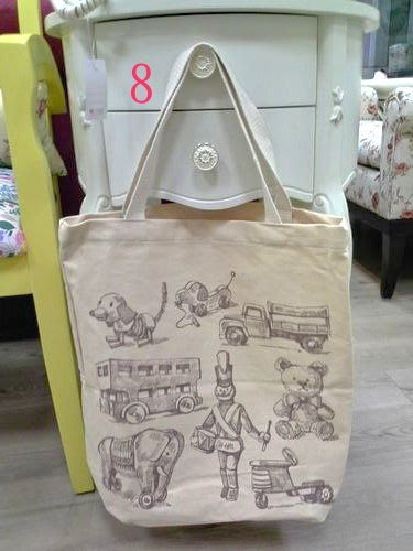 美生活館---全新日式雜貨ZAKKA鄉村風貓頭鷹玫瑰熊花草英國國旗帆布袋購物袋手提袋--8