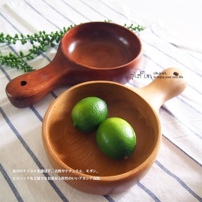 《AsFun》天然原木櫸木沙拉碗 實木製造 勺子造型 湯碗 水果盛裝 (大)