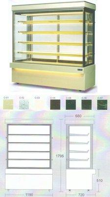 瑞興直角蛋糕櫃 / 4角玻璃後開門展示櫃 / 蛋糕5層冷藏展示櫥