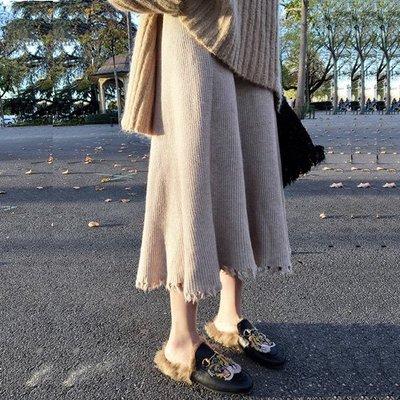 裙子長裙 不規則加厚兔絨保暖A字針織百褶裙 艾爾莎【TAE8143】
