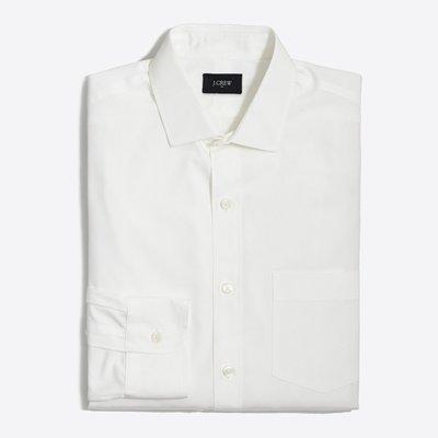 美國百分百【全新真品】J-Crew 正式 襯衫 JC 長袖 上衣 素面 口袋 雅痞 上班休閒 白色 XS號 I796