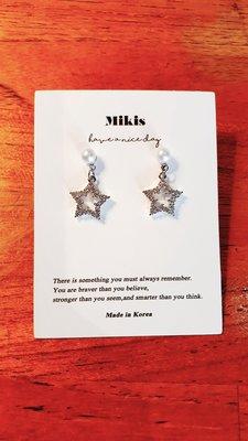 Mikis推薦 3月正韓【優惠!超閃耀珍珠星星水鑽銀針耳環】一色