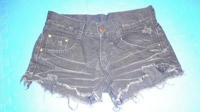 ~保證真品 Rouer disco 黑色牛仔短褲S號~便宜起標無底價標多少賣多少