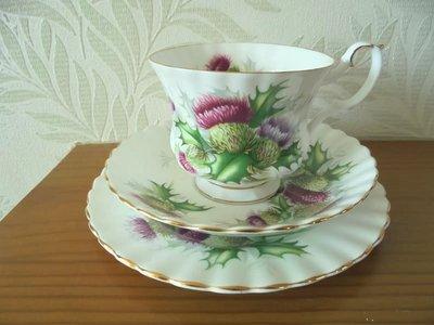 【達那莊園】英國製骨瓷器 Royal Albert皇家亞伯特 hightland thistle高原薊 (限量)茶杯盤組