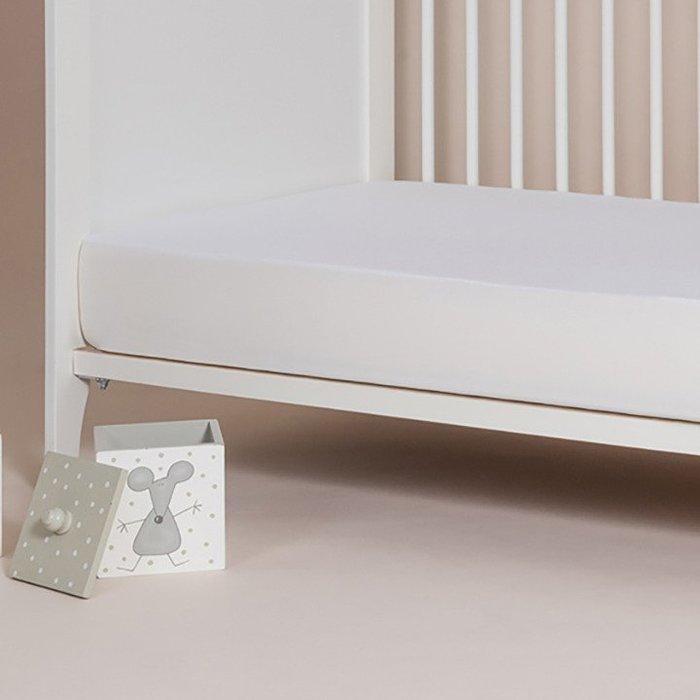 純棉刷毛床包式保潔墊-白色 60X120公分/西班牙Velfont進口/物理性隔螨/防水/靜音【兔寶寶部屋】