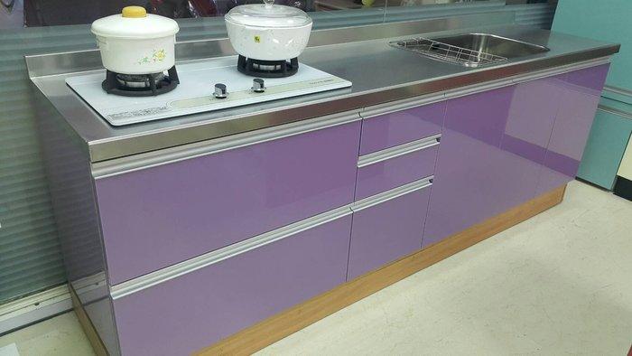 不銹鋼檯面 (新型霧花面) + 不銹鋼桶身 (下廚)--高雄 鳳山 廚具工廠 流理台 系統櫃
