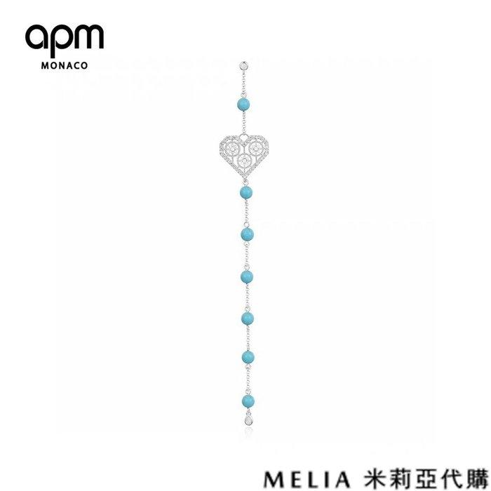 Melia 米莉亞代購 商城特價 數量有限 每日更新 19ss APM MONACO 飾品 單邊耳環 鑲晶綠松石長耳環