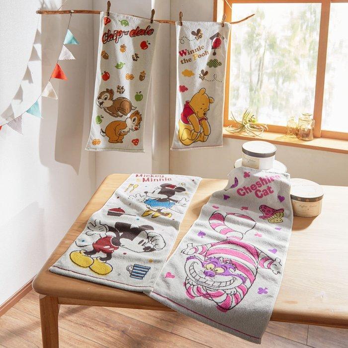 迪士尼Disney《預購》100%綿毛巾34×80cm~維尼妙妙貓奇奇蒂蒂米奇米妮~日本正品~共4款~心心小舖