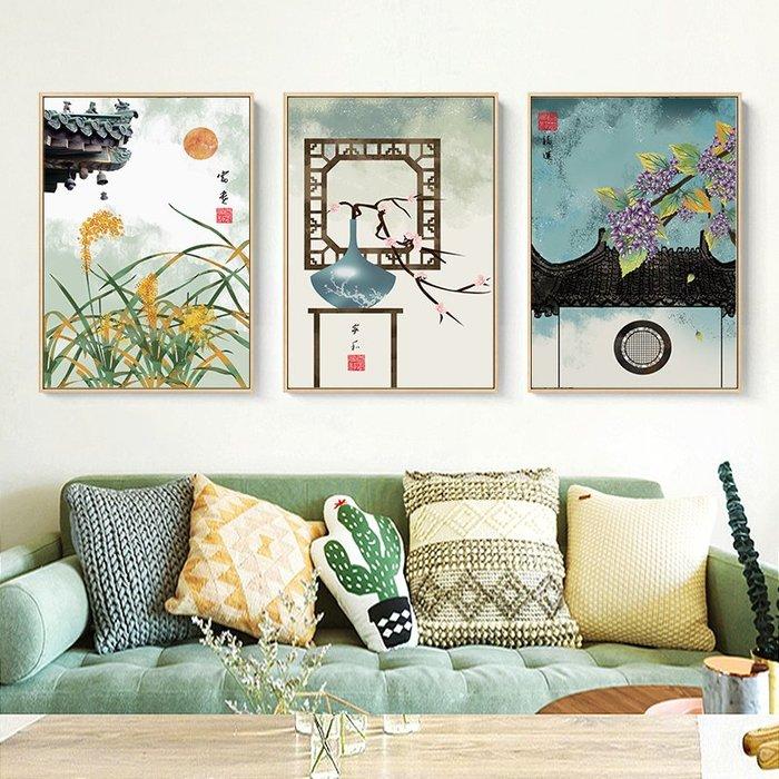 新中式禪意復古風建築裝飾畫畫芯微噴繪打印畫芯掛畫壁畫(3款可選)
