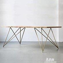 訂製北歐設計師實木辦公桌會議桌簡約現代鐵藝工作台原木餐桌椅組合『舒心生活』