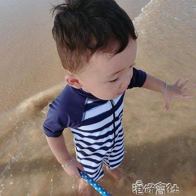 韓國嬰幼兒童泳衣男寶泳褲條紋速幹男童寶寶防曬連體防曬泳裝帶帽