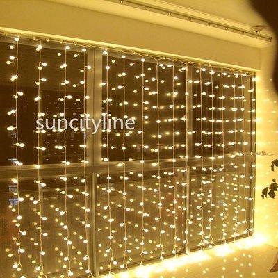 LED彩燈閃燈3米3米窗簾燈300燈小圓球串燈聖誕防水窗簾燈 瀑布燈新年婚慶舞會陽台 城市亮化裝飾霓虹戶外燈串 現貨 滿