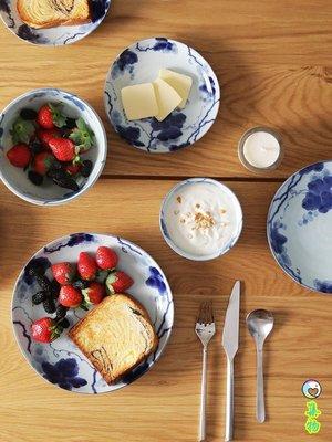 (免運)日本進口藍染系列平盤淺盤餐盤沙拉碗陶瓷碗釉下彩古典蘭彩