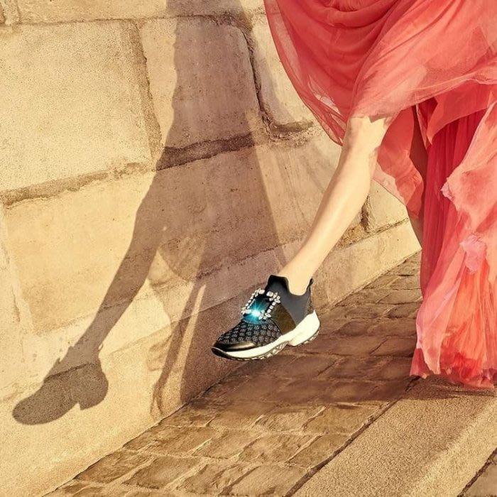 法國精品鞋履品牌 Roger Vivier 水晶釦 休閒鞋 藍/黑