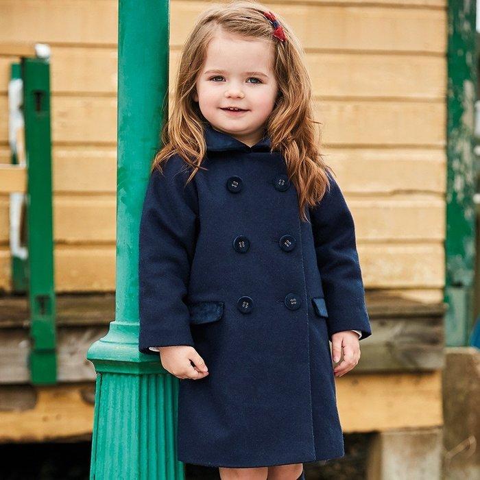 【兔寶寶部屋】特價。經典海軍藍雙排扣大衣/男女皆適合/JoJo Maman Bebe英國原裝進口 E1284