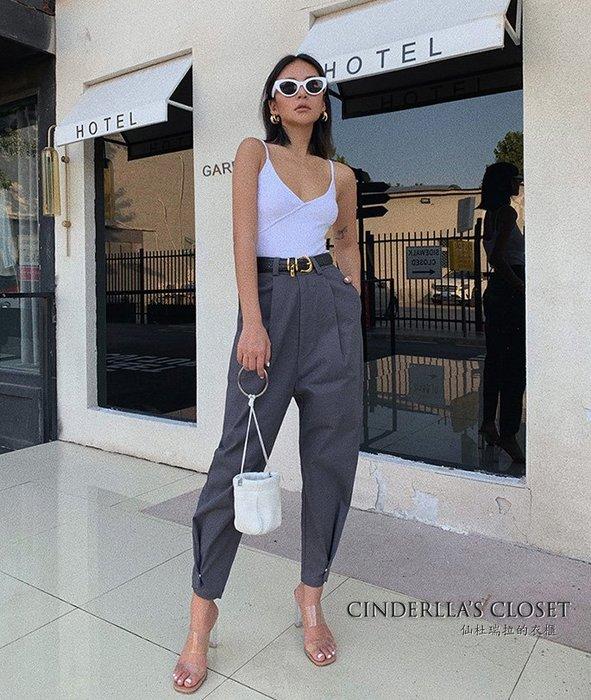 《仙杜瑞拉的衣櫃》p0381 高腰寬鬆 褲腳收摺設計 九分哈倫褲