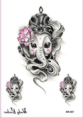 【滿300免郵】里周成~紋身貼  泰國大象藝術大圖男女款大臂貼刺青 BR-007