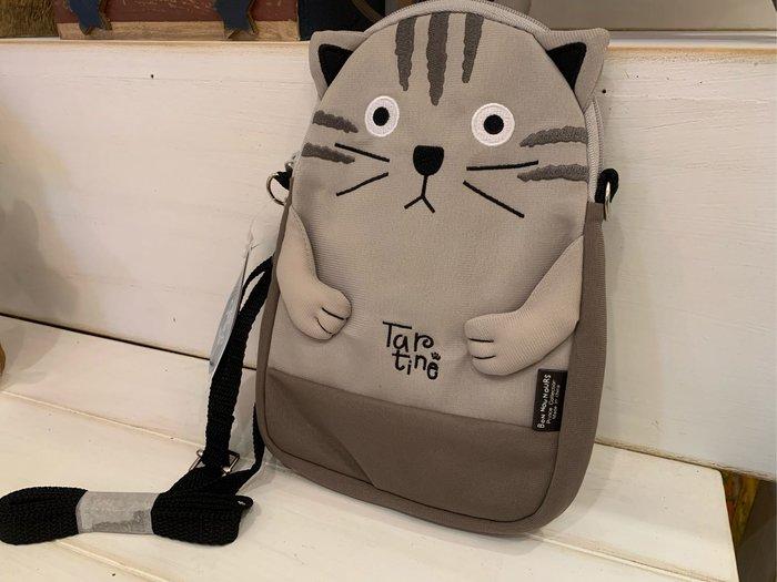*黑頭小羊雜貨小舖*日本帶回zakka~日本Bon nounours灰色小貓可背式手機包/灰色小貓斜背包