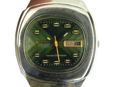 [專業模型] 機械錶 [TELUX 7512-A] 鐵力士 圓型[21石]自動錶[綠色面+星+日期]中性錶/軍錶