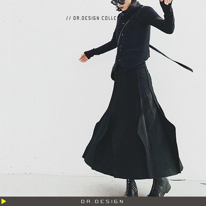10/29新品►DR.DESIGN│DR31737-小眾暗黑設計 宮廷風 高腰 立體毛呢拼接 長裙 圓裙