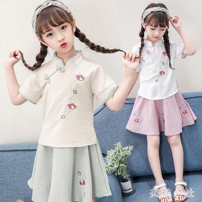 女童漢服童裝2018新款夏裝套裝中國風復古襦裙兩件套改良兒童唐裝 st3108
