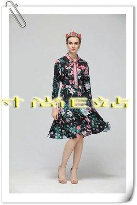 時尚E站【~SSEZ~】34308011 印花系帶長袖裙 S M L XL