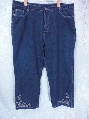 ANGE JEANS~繡花設計牛仔褲~藍色~SIZE:5L(大尺碼)~99元起標