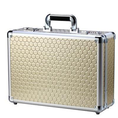 【優上】手提箱文件箱鋁合金工具箱密碼箱保險箱 展示箱化妝箱密碼鎖箱子「香檳金」
