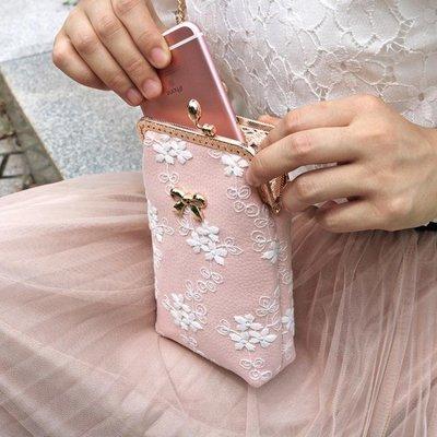 手機包 迷你散步手機包便攜豎款斜背蘋果女生蕾絲可愛斜背放裝手機的小包