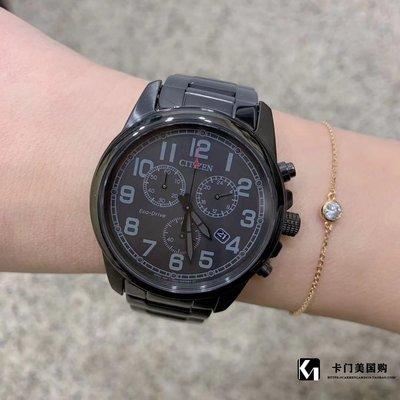 薇安手錶集市~0120J4卡門美國購Citizen西鐵城光動能夜鶯計時男款鋼帶40盤