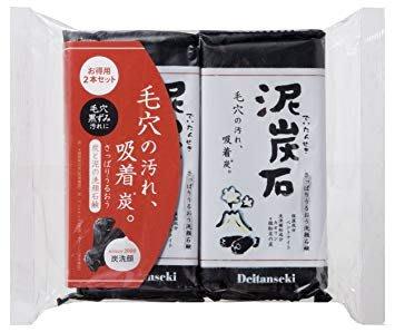 日本長期熱銷!  泥炭石潔顏 洗面皂   細微碳粉可深入毛孔有效清除髒汙 內含粘土成份可同時保持皮膚水分 洗後不緊繃