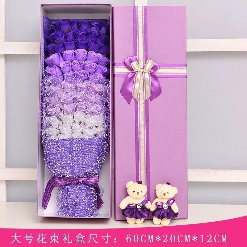七夕情人節永不凋謝玫瑰香皀花99朵禮盒+2隻小熊