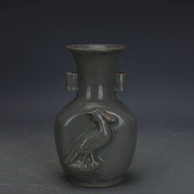 ㊣姥姥的寶藏㊣ 宋代越窯青釉堆雕鳥紋貫耳瓶  出土文物古瓷器古玩古董收藏品