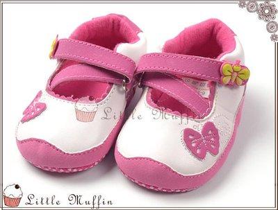 可愛粉紅立體蝴蝶魔鬼氈交叉裝飾娃娃鞋 ...
