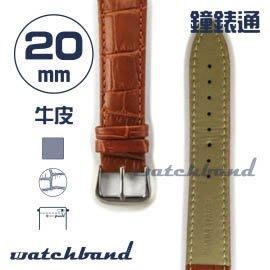 【鐘錶通】C1.21AA《霧面系列》鱷魚格紋-20mm 霧面棕(手拉錶耳)┝手錶錶帶/皮帶/牛皮錶帶┥