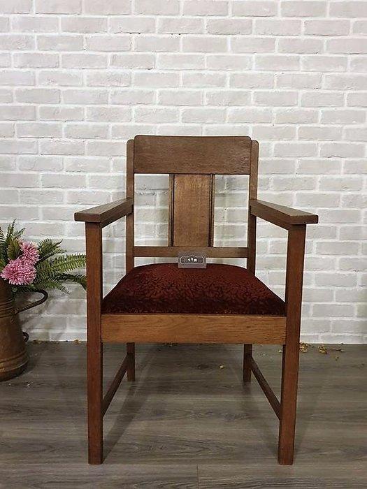 【卡卡頌 歐洲古董】比利時老件 老橡木 紮實 扶手椅 主人椅 古董椅 ch0386