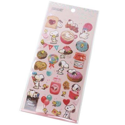【莫莫日貨】日本進口 銅板亮面六角雷射 貼紙 手帳貼紙 裝飾貼紙 拍立得貼紙 - Snoopy 史努比 23915