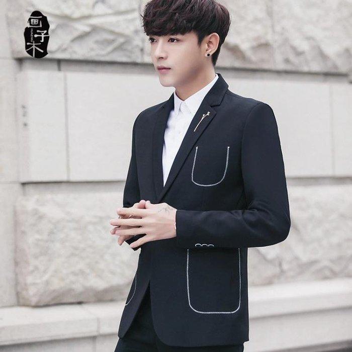 西裝外套畫子木休閒西裝男外套青年夜店韓版修身個性口袋男士西裝新郎上衣