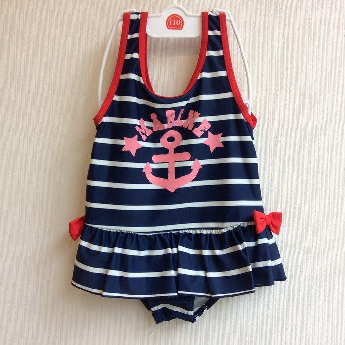 。小森親子好物。日本兒童泳裝 女童110cm 條紋(藍) (現貨)【kd26110002】