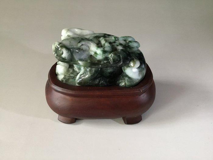 *藏雅軒*早期收藏老件-緬甸玉雕刻擺件-老花青-水牛雕件
