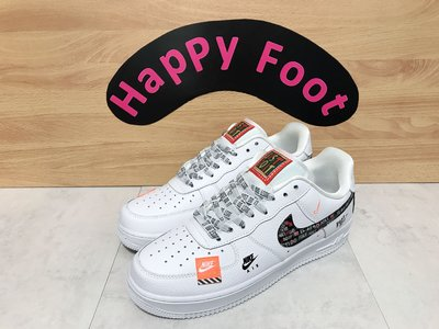 ?Happy Foot? Nike Air Force 1 Just Do It 白色 拼貼 AR7719-100