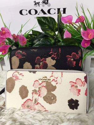 (Outlet特惠)COACH 52426 新款女士黑色茶玫瑰印花拉鏈長夾 手拿包 附購買證明
