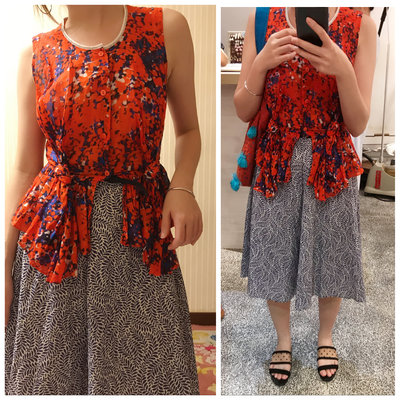 CARVEN floral ruffle top/CARVEN印花純棉背心