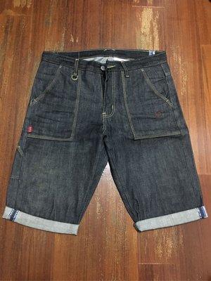 二手美品 M號 REPUTATION DENIM SPLICE RIGID SHORTS 15OZ 單寧布料重磅牛仔短褲